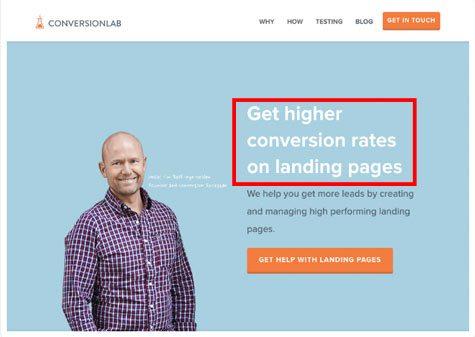 Landing page headline