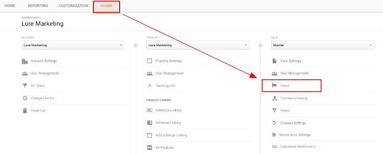 Finding Goals under Admin tab in Google Analytics