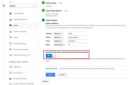 Entering Google Analytics event goal details