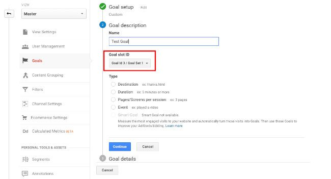 Goal sets and ID's in Google Analytics