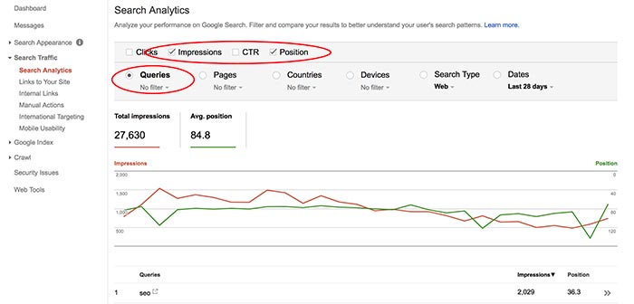 Checking keyword ranking using Google Search Console