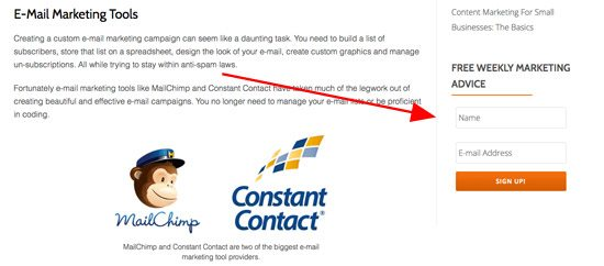 add email opt in forms to increase your email subscription list