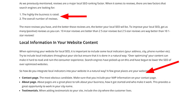 Bulleted and numbered lists also improve readability of blog posts