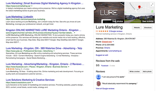 Google My Business Listing for Lure Marketing